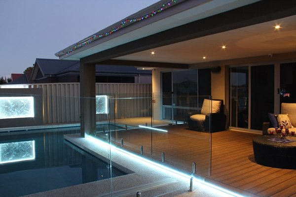 wood plastic composite decking at pool side