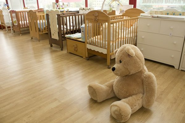 Nursery that uses laminate flooring