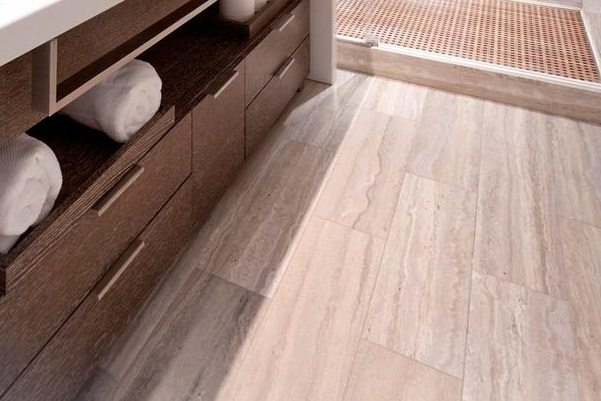 bathroom with vinyl flooring
