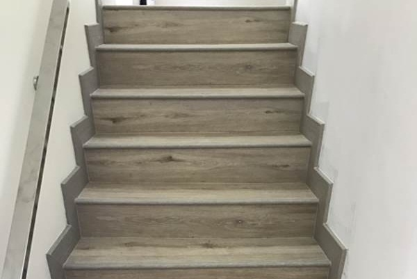 vinyl flooring installed on stairs